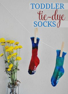 Host a fun summer party using tie-dye and create totes, shirts, and more. Or, just follow this simple DIY to create silly toddler socks.