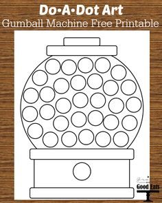 Print this adorable Gumball Machine Do-A-Dot Free Printable for an easy, indoor kid activity. Pair this printable with a package of do-a-dot markers. Preschool Worksheets, Preschool Learning, Preschool Activities, Teaching, Easy Preschool Crafts, Crafts For Kids, Kids Educational Crafts, Dot Painting, Painting For Kids