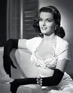 "Jane Russell (1921-2011) born Ernestine Jane Geraldine Russell in Minnesota.  Howard Hughes, film mogul, in her 1st 1943 film ""The Outlaw"" film censorship protested because her breasts were visible through costume."