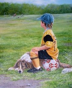 """Waiting To Play"" by Shirley Deaville, Canada Dogs And Kids, Animals For Kids, Pictures To Paint, Print Pictures, Painting For Kids, Art For Kids, Best Friends For Life, Gif Animé, We Are The World"