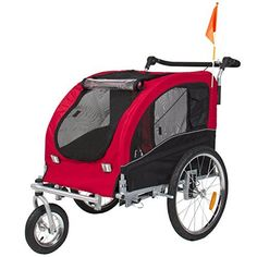 2 in 1 Pet Dog Bicycle Trailer Stroller Jogging with Suspension Red * See this great product.