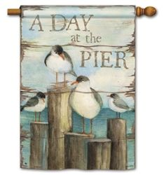 """""""Bay Pier"""" decorative house and garden flags by BreezeArt at Flag Fables Home."""