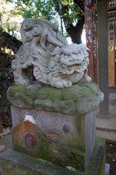 Komainu (shrine guardian dog) on Mt.Fuji ,Shinagawa