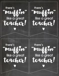 """Teacher/co-worker gifts, teacher appreciation, thank you note, gift tag--there's """"Muffin"""" like a great teacher CHALKBOARD design by PartyTimeDesign on Etsy"""