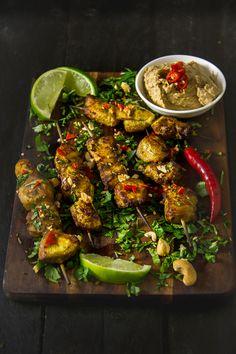 Balinese Chicken Satay Skewers with Cashew Sauce-4