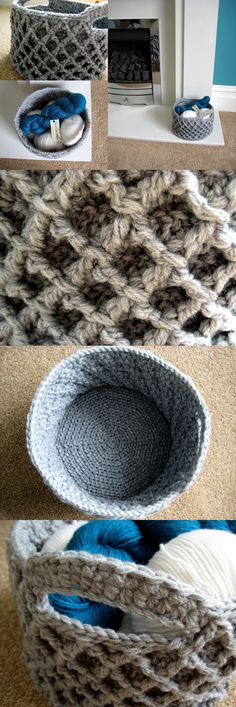 Diamond Trellis Basket -free crochet pattern which can be made in any size – and it is just nicely stiff too! (I hope it is an easy pattern, not so good with crochet, but I want one, so I guess I will have to make it! Crochet Diy, Crochet Amigurumi, Crochet Home Decor, Crochet Purses, Knit Or Crochet, Crochet Crafts, Yarn Crafts, Crochet Stitches, Crochet Projects