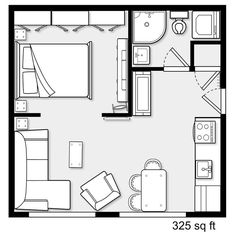 apartment floor plans Relatively apartment for a couple Studio Floor Plans, Small House Floor Plans, Small Tiny House, Tiny House Living, Small House Design, The Plan, How To Plan, Apartment Floor Plans, Small Apartment Plans