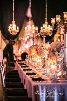 Lilac + white long table reception table