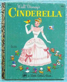 Vintage Walt Disney's Cinderella A Little Golden Book 1970s Kids Book.