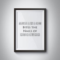 Typography Print Ambition Bites the Nails of by JKDigitalDesign