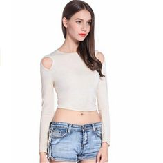 51bb2ef115 Hot Sale 2017 Summer Fashion Women Crop Tops Sexy Strapless Paragraph Round  Neck Long Sleeves Tee Party Club White Black T-shirt