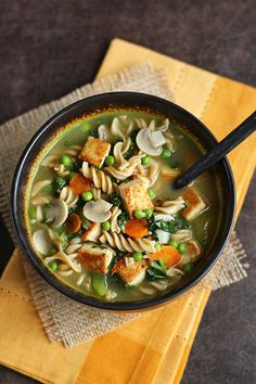 Tofu Noodle Soup - Classic vegan comfort food is the best! ilovevegan.com