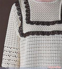 Эта бежевая кофточка в винтажном стиле вяжется красивыми узорами. Она имеет квадратную кокетку которая обвязана оборками контрастного коричневого цвета. Пряжа хлопок. Крючки 3\0 и 4\0.