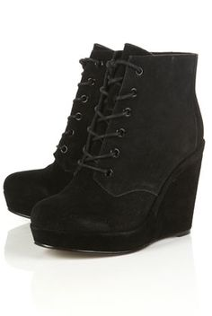 ANDRE Wedge Lace Up Boot - StyleSays