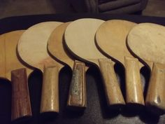 6 Old Wooden Ping Pong Paddles Without Rubber