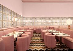 Pink interior, brass details and chevron tile floor - it must be LOVE. India Mahdavi and David Shrigley : The Gallery Restaurant at Sketch, London