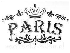 Shabby Chic sjabloon Paris Crown Fleur de Lis. Verkrijgbaar in A4 en A3 formaat. Exclusief bij verftechnieken.nl