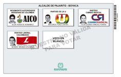Tarjetón de elección para Alcalde de Pajarito