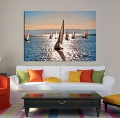 Sailboats on Sunlight Reflected Sea Large Wall Art Canvas Print