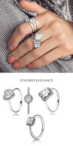 Stacked elegance! Embrace the trend for heritage-inspired jewelry with an opulent ring stack that honors the classic solitaire design. The sparkling geometric shapes of the vintage-cut centre stones add a contemporary twist, while the heart-shaped ring brings a feminine touch. #PANDORA #PANDORAmagazine #PANDORAring