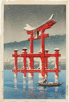 Kawase Hasui, Snow at Miyajima, 1928
