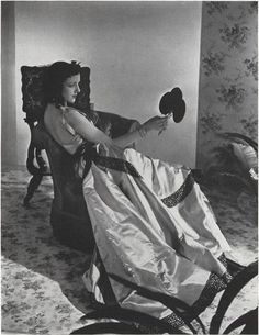 "Mona Maris wearing Balenciaga's ""Velazquez"" inspired gown, Vogue 1939, photo by Horst P. Horst. http://theartofdress.org/tag/cristobal-balenciaga/"