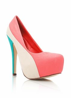 Leather colorblock platforms