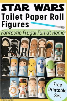 These Star Wars-Inspired Toilet Paper Roll Figures are fantastic for frugal fun at home. Perfect for boosting creativity & more! Get ideas for enjoying these hands-on activities & your free printable set today. Space Activities, Art Activities For Kids, Math For Kids, Educational Activities, Diy Crafts For Teens, Rainy Day Fun, Free Math, Free Fun, Paper Roll Crafts