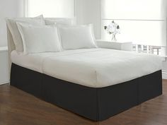 """Lux Hotel Bedding Tailored Bed Skirt, Classic 14"""" Drop Length, Pleated Styling, Queen, Black"""