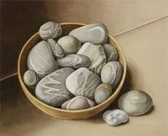 "Jenny Barron, ""Still Life with Bowl of Pebbles""  Watercolour  500x400mm"
