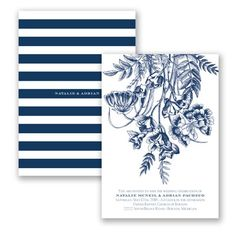 "Romantic Botanical - ""Marine"" - Invitation 