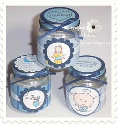 Baby boy shower favors made with baby food jars... check Craig's List for people giving away free or very cheap ones.