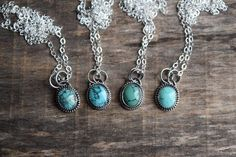 Small Turquoise Necklace Real Turquoise Pendant Choose Your Own, Blue Diamond Turquoise Necklace