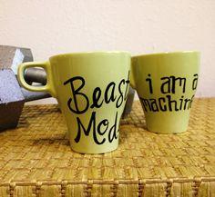 Body Building Mugs - Fitness Athlete - Hand Painted Coffee Mugs. $30.00, via Etsy.