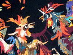 Antiquité Tapisserie d'Aubusson Art Moderne par Jean Lurçat combat de coqs (détail sur la prise de bec)