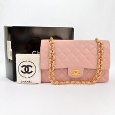 """Chanel Pink Quilted Leather 2.55 10"""" Shoulder Bag CC Ss539"""