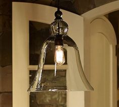 Rustic Glass Pendant - Large | Pottery Barn ~ TWO OVER A DR TABLE VS A CHANDELIER (LESS FORMAL WHICH IS LOOK I'M GOING FOR) ~