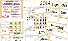 Calendar Math- with printables and task cards!!