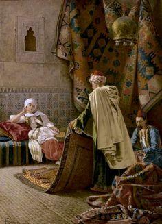 Francesco Ballesio (Italian painter) 1860 - 1923 Choosing a Carpet, s. oil on canvas 24 x 17 in. x 45 cm. Oil Painting On Canvas, Canvas Art, Middle Eastern Art, Arabian Art, Islamic Paintings, Exotic Art, Old Egypt, Italian Painters, Arabian Nights