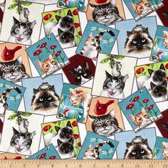 Curious Cats Tossed Postcard Cream Fabric