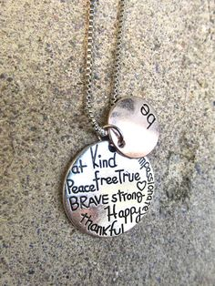 Inspirational Charm Necklace, Be Happy Necklace, Quote Necklace, Stamped Jewelry, Stamped Necklace, Quote Necklace by 3rdTimeCharms on Etsy