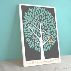 Modwik Wedding Tree Guest Book By Peachwik | Wedding Colors: Teal, Orange, Charcoal Grey | Canvas