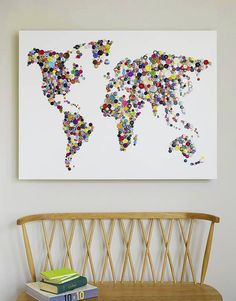 world map button and badge artwork by hello geronimo | notonthehighstreet.com