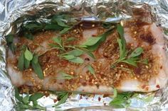 oven baked hake with basil, lime, ginger and garlic-- no hoi sin, use braggs