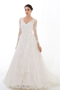 BRIDAL DRESS WITH LONG LACE SLEEVES, OPEN BACK --LOUISA