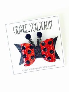 Hey, I found this really awesome Etsy listing at https://www.etsy.com/listing/237344724/ladybug-sparkle-bow-ladybug-bow-beaded