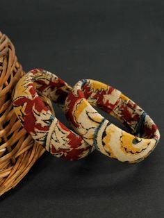 Items similar to Kalamkari Fabric Printed Handmade Bangle Diy Fabric Jewellery, Fabric Earrings, Textile Jewelry, Boho Earrings, Fashion Jewelry Stores, Fashion Jewellery, Jewellery Sale, Kalamkari Fabric
