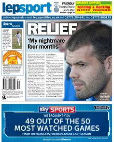 Lancashire Evening Post back page 01/08/14 - Relief 'My nightmare four months'