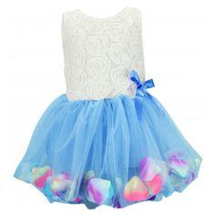 Baby-Girls-Kids-Toddlers-Lace-Bow-Princess-Dress-One-piece-Petal-Hem-Dress-New