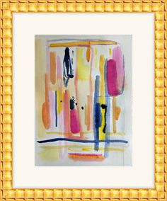 abstract painting modern art art on paper pink and navy by pamelam